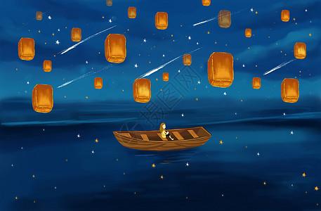 海上孔明灯高清图片