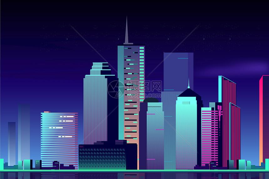 唯美夜晚城市建筑图片