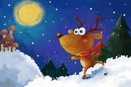 圣诞节麋鹿手绘插画图片