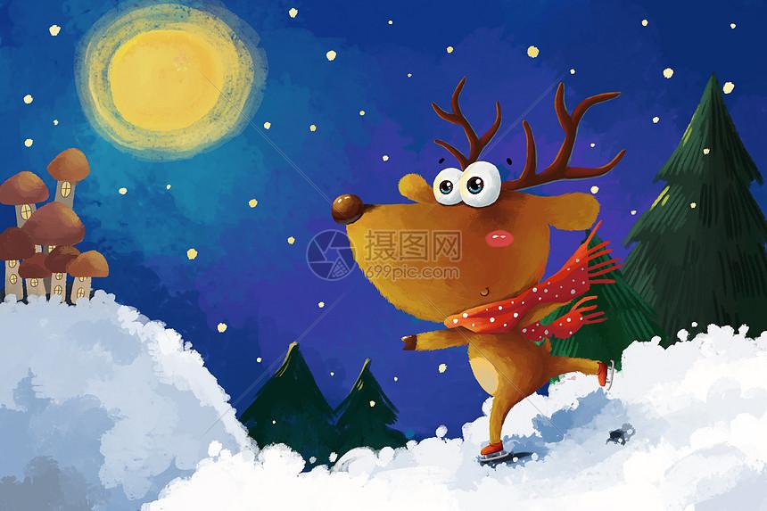 唯美图片 人物情感 圣诞节麋鹿手绘插画psd  分享: qq好友 微信朋友圈