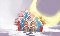 唯美雪景中的房子图片