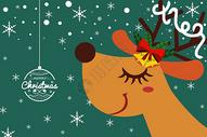 圣诞节麋鹿手绘矢量插画图片
