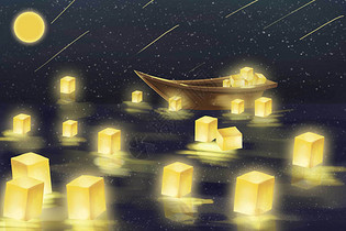 海上孔明灯图片