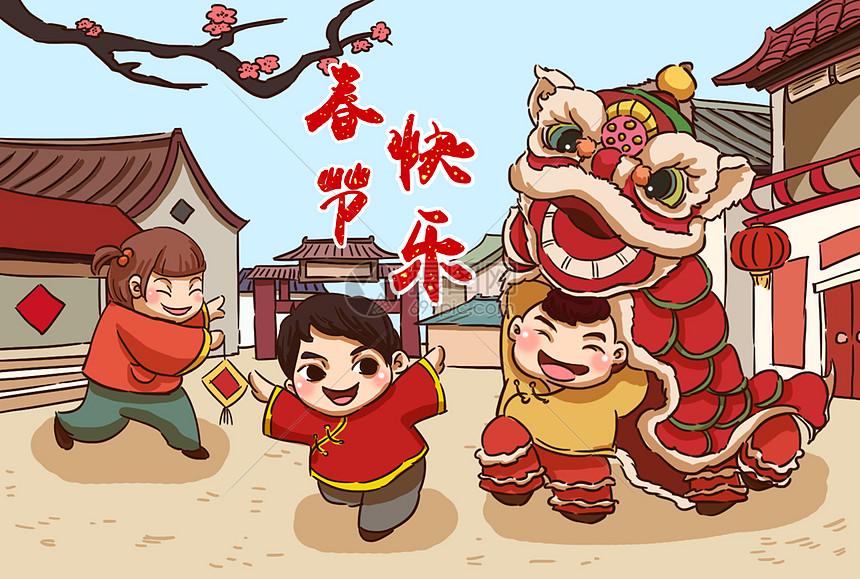 春节舞狮插画图片