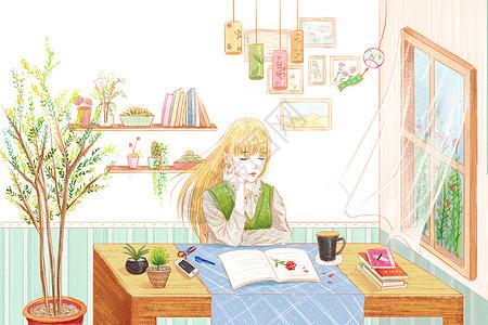 窗边看书的文艺少女图片