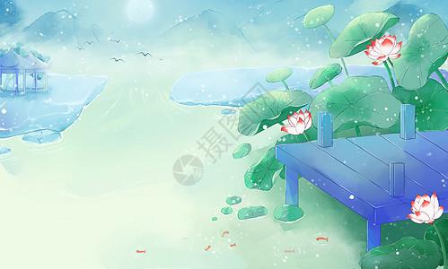 中国风荷花小湖风景图图片
