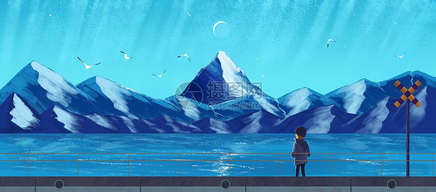 海边孤独的小男孩治愈系插画图片