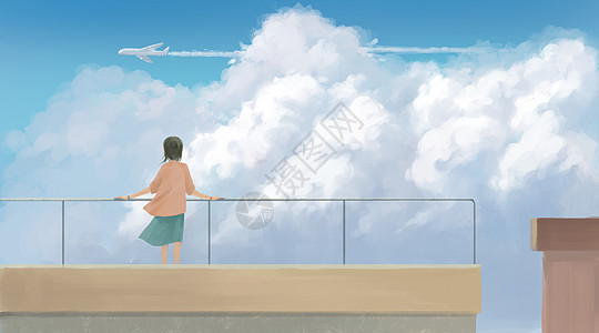 天台上遥望飞机的少女图片