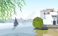 湖边小舟图片