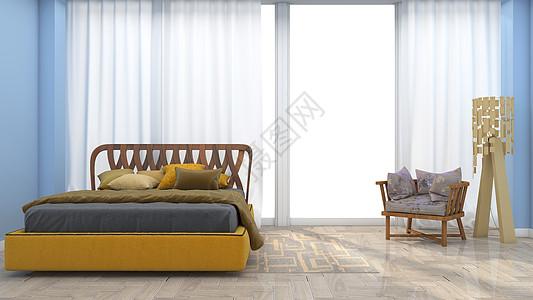 简约清新卧室家居背景图片
