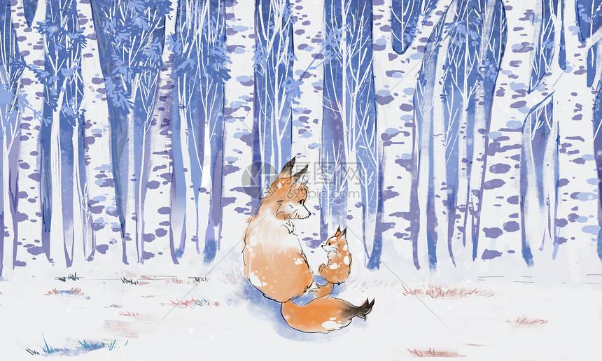 雪地里的狐狸图片