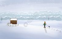 雪中木屋图片