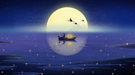 湖广月色中秋佳节渔夫孤独垂钓图片