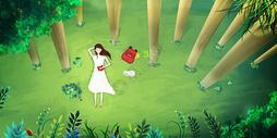 森林中看书睡觉的女孩图片