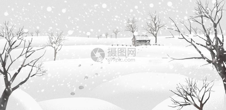 唯美雪景手绘插画图片