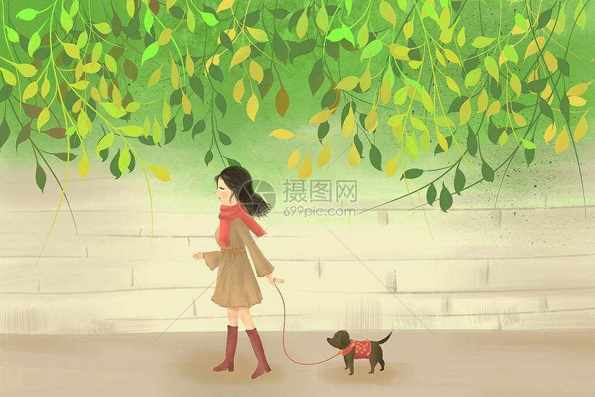 遛狗休闲插画图片
