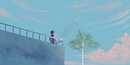 天台上的小男孩插画图片