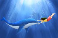 海豚与小女孩图片