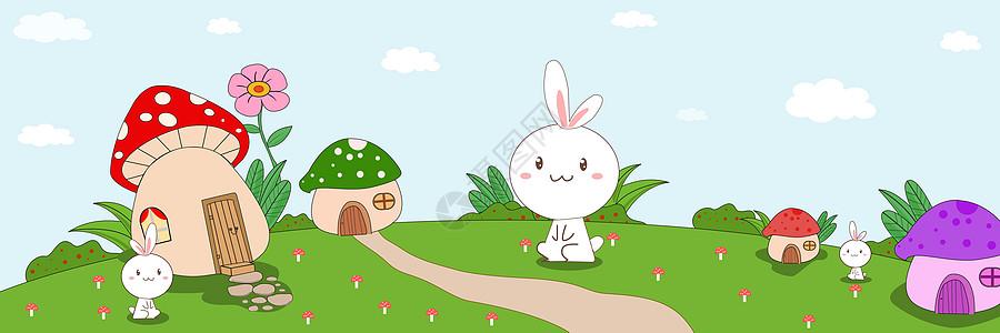 蘑菇房子卡通背景图片