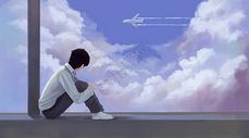 坐在窗台的少年图片