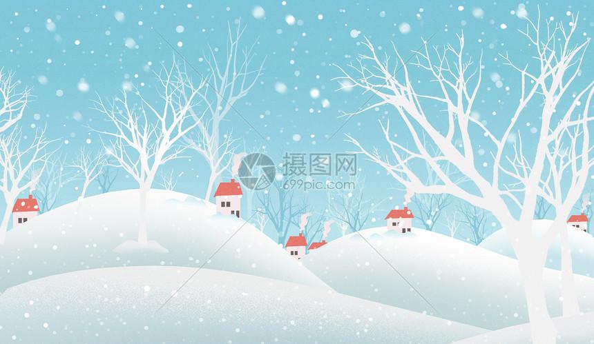 雪中的村落图片