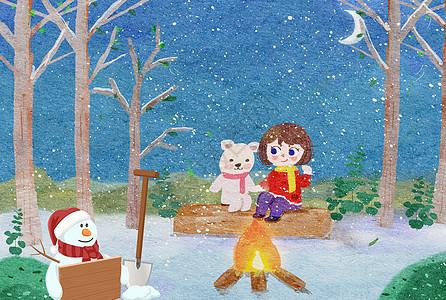 大雪冬天快乐图片