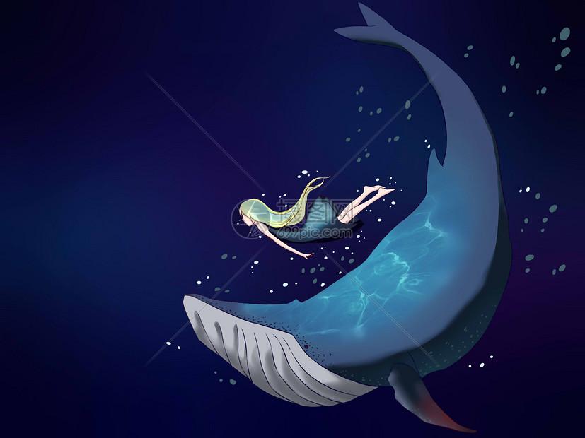 深海中的人与鲸鱼图片