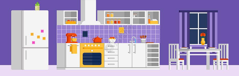 扁平化厨房家具图片