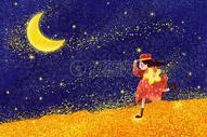 抱着星星奔跑上月亮的女孩图片