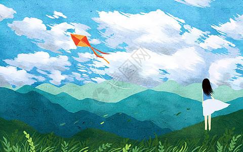 放风筝的女孩图片
