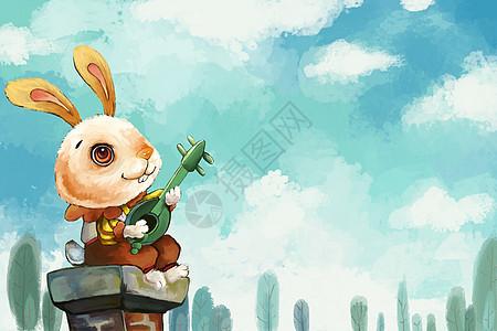 天空下的兔子图片