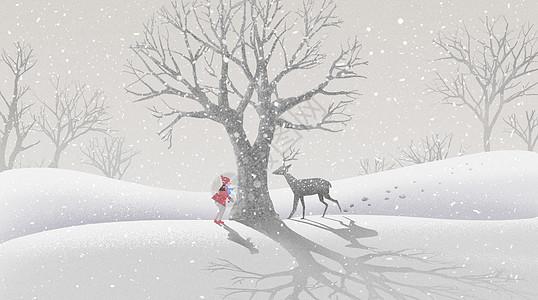 雪地里的鹿和女孩图片