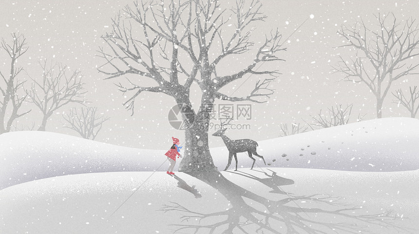 冬天雪地里的鹿和女孩图片