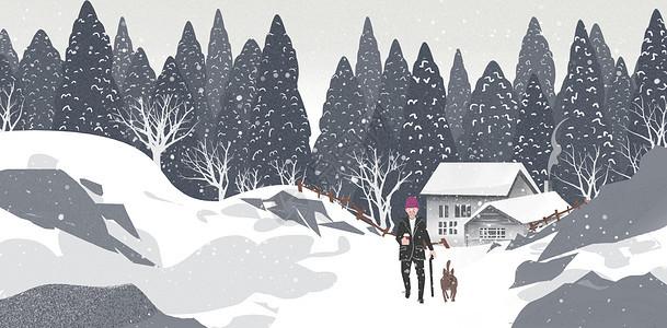 雪地里的老人与狗图片