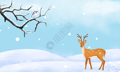 清新手绘雪天背景图片