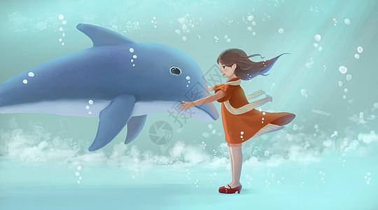 女孩与海豚图片