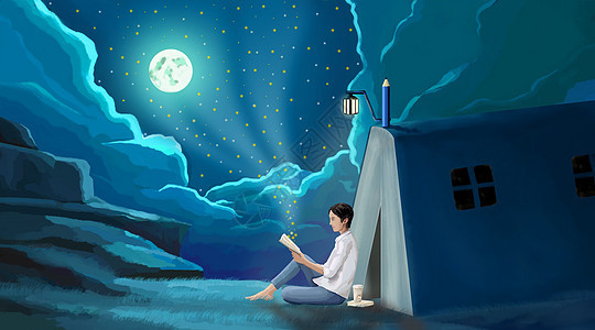 月光下男孩坐在书屋外面看书图片