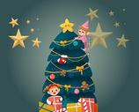 手绘圣诞树礼盒海报图片