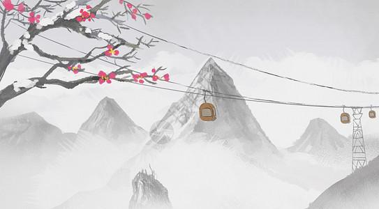 冬季雪山缆车图片