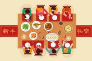 年夜饭聚餐插画图片