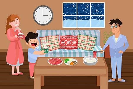 一家人吃火锅插画图片