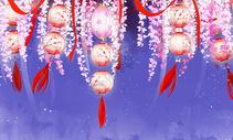 古风灯笼唯美插画背景图图片