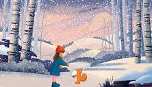 治愈系冬天雪天遛狗插画图片