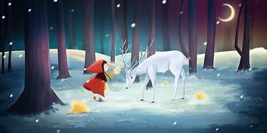 雪地里给鹿送礼物的女孩图片