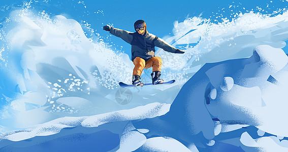 冬季滑雪插画图片