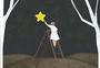 摘星星的女孩手绘插画图片