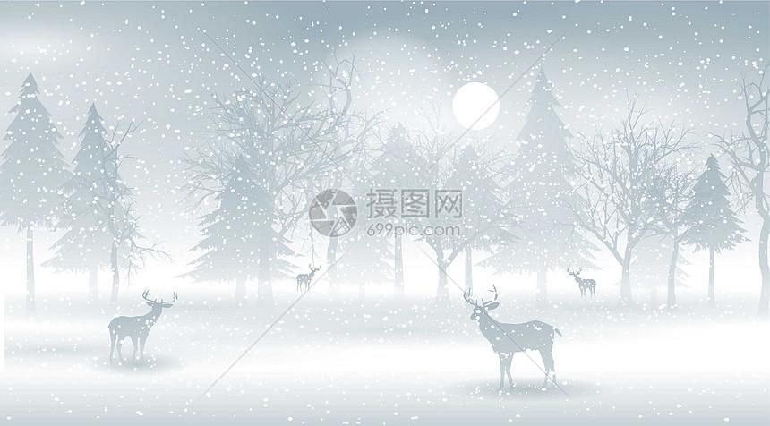雪景里的小鹿图片