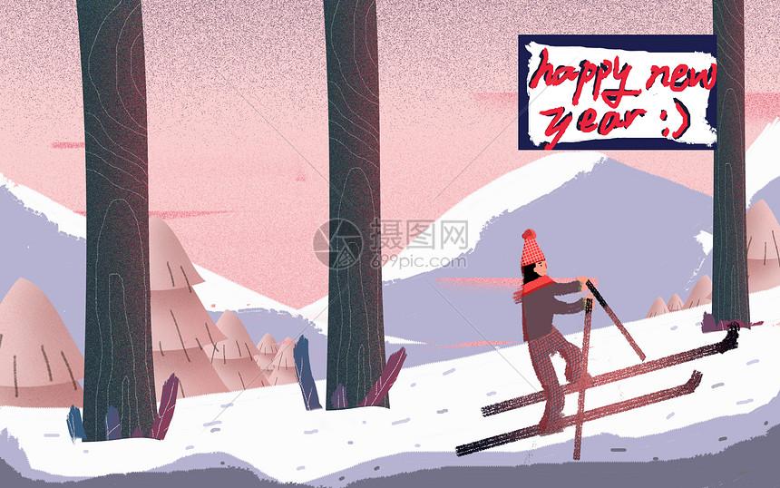 冬日户外雪景图片