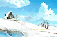 雪山上的小屋图片