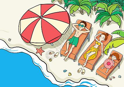 亲子海边度假高清图片